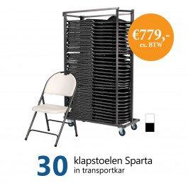 Actiepakket: 30 klapstoelen Sparta in kar (wit)