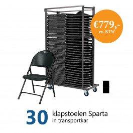 Actiepakket: 30 klapstoelen Sparta in kar (zwart)