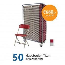 Actiepakket: 50 klapstoelen Titan in kar (grijs-bordeaux)