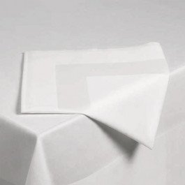 Servet katoen wit met satijnband 50 x 50 cm