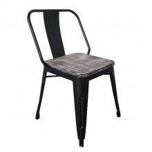 Stapelstoel Vintage, zwart, met houten zitting (iwood)