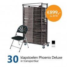 Actiepakket: 30 klapstoelen Phoenix Deluxe in kar (chroom/zwart)