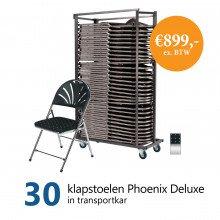 Actiepakket: 30 klapstoelen Phoenix Deluxe in kar (chroom/zwart met motief)