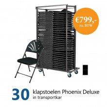 Actiepakket: 30 klapstoelen Phoenix Deluxe in kar (zwart)