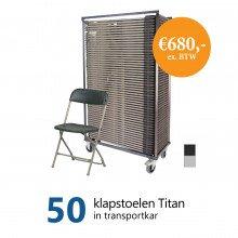 Actiepakket: 50 klapstoelen Titan in kar (grijs-antraciet)