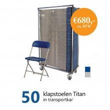 Actiepakket: 50 klapstoelen Titan in kar (grijs-blauw)