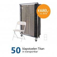 Actiepakket: 50 klapstoelen Titan in kar (wit)