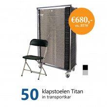 Actiepakket: 50 klapstoelen Titan in kar (grijs-zwart)