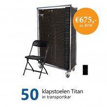 Actiepakket: 50 klapstoelen Titan in kar (zwart)
